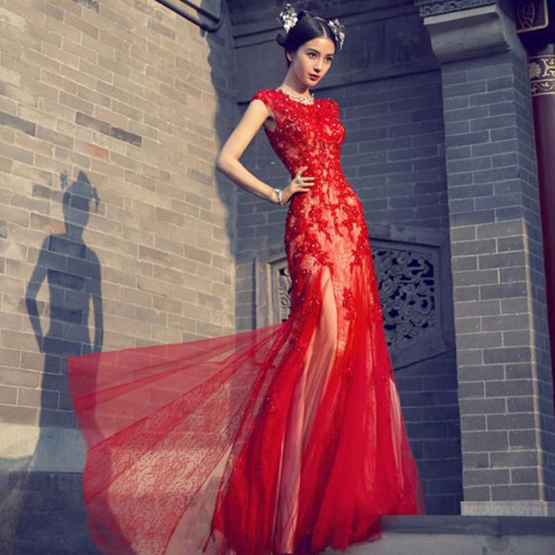 新娘敬酒服新款红色结婚晚礼服长款主持人鱼尾裙宴会