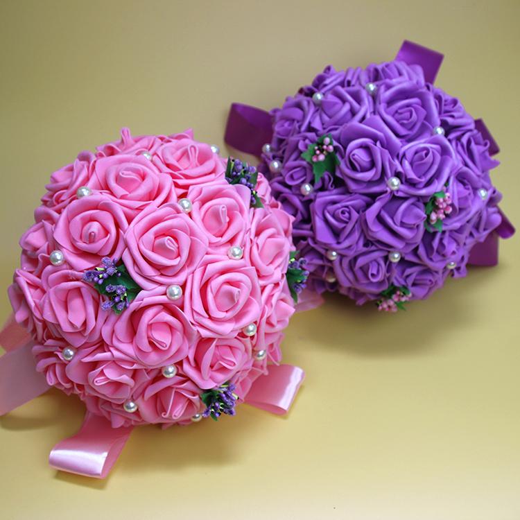 包邮 新款新娘仿真手捧花 pe材质玫瑰花朵镶钻手捧花
