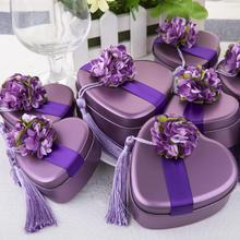 欧式心形马口铁结婚礼喜糖盒子批发 创意糖果盒礼盒婚庆用品 紫