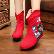 老北京加绒加厚棉靴布鞋冬季女靴短靴女高跟内增高绣花红色新娘靴