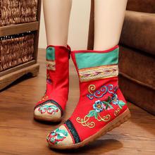 老北京布鞋女靴子短靴民族风内增高侧拉链牛筋底绣花靴子红色婚靴