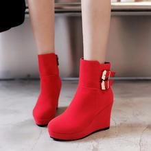 冬季爆款婚靴女厚底坡跟红色新娘鞋磨砂加绒伴娘鞋时尚保暖马丁靴