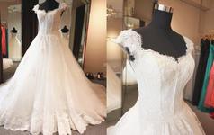 【浩爱婚纱】一字肩袖蓬蓬蕾丝长拖尾婚纱