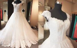 实拍图 可拆卸一字肩袖蓬蓬蕾丝带花长拖尾婚纱