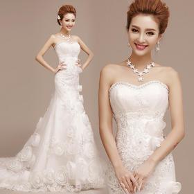新款新娘婚纱礼服红色齐地抹胸收腰鱼尾婚纱小拖尾修身秋冬季