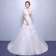 新娘鱼尾婚纱礼服新款冬季蕾丝韩式长拖尾婚纱定制修身女