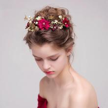 韩式新娘头饰红色花朵结婚发饰敬酒服礼服