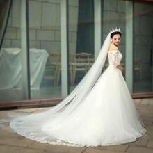 韩式简约新娘头纱双层3米超长拖尾头纱软纱5米10米婚纱头纱裸