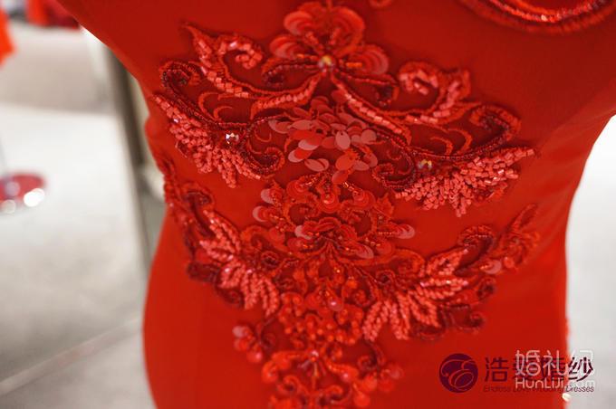 【浩爱婚纱】绸缎改良旗袍中式礼服
