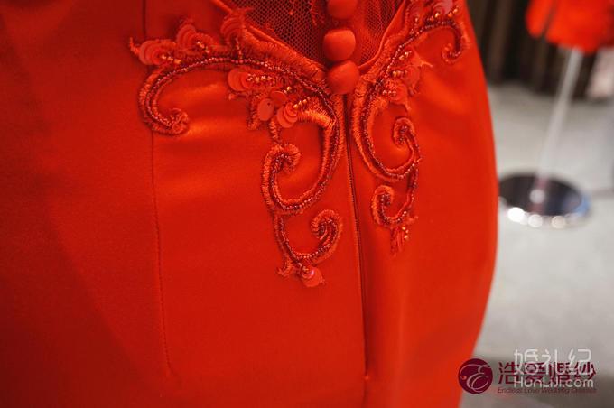 复古时尚绸缎改良旗袍婚礼敬酒服中式礼服