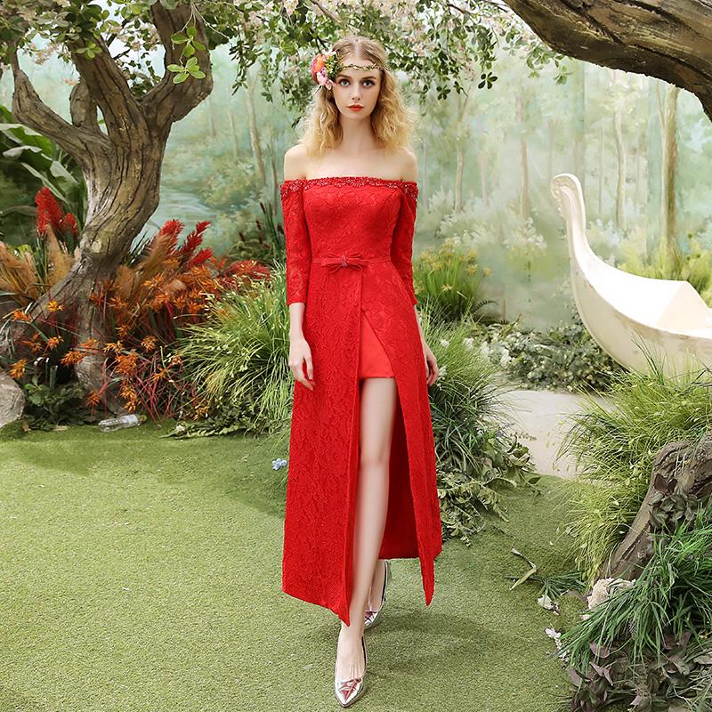 宴会晚礼服新款时尚红色舞会主持人礼服长款气质优雅