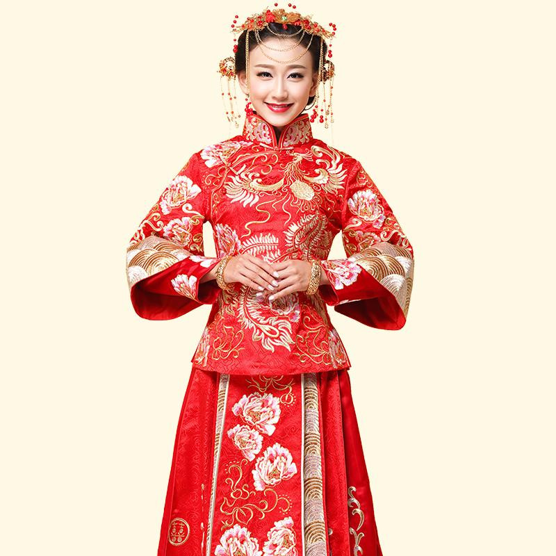 新娘礼服中式嫁衣红色婚纱敬酒服秀禾服图片