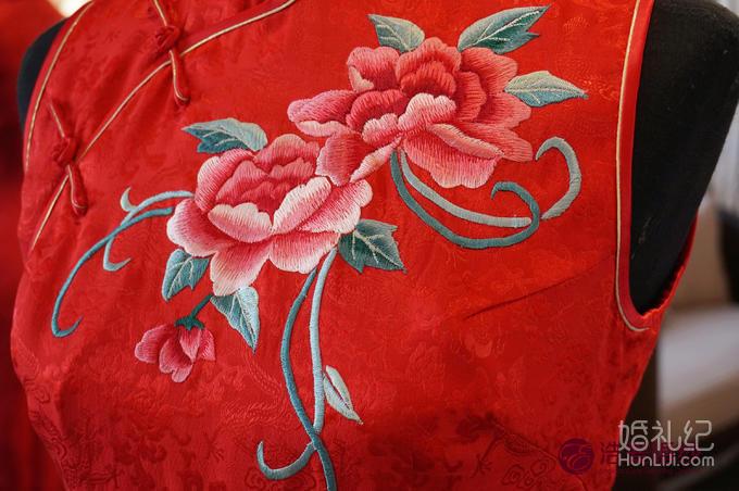 牡丹绣花龙凤暗纹中长款真丝旗袍 敬酒服 量身定做