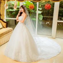 2016秋季新款新娘结婚韩式简约抹胸大长拖尾修身显瘦婚纱礼服
