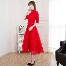 新款秋冬季红色修身长袖结婚礼服显瘦晚礼服