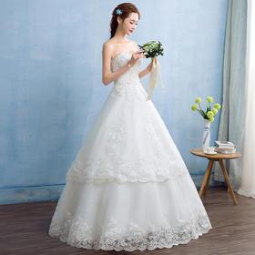 韩式抹胸新娘婚纱礼服齐地A摆婚纱修身