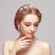 新娘头饰三件套韩式项链耳环皇冠发饰套装婚纱配饰结婚饰品