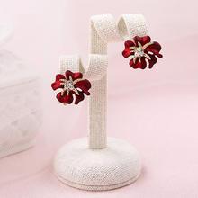 珊韩式时尚红色新娘耳环水钻花朵结婚耳夹饰品礼服配饰