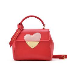 【红色礼遇牛皮女包包手提包单肩包斜挎包红色新款新娘包包真皮包