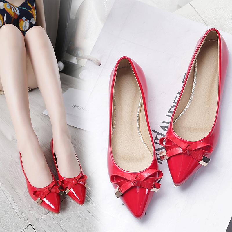 欧美大牌尖头平底鞋蝴蝶结浅口单鞋女红色婚鞋新娘鞋子平跟礼服鞋