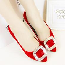 秋季新款红色结婚鞋平底尖头方扣水钻新娘鞋平跟单鞋大码女鞋