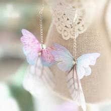 手工森系复古仙女蝴蝶翅膀长款耳饰耳坠新娘配饰品