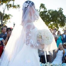 包邮!新款刘诗诗婚礼头纱韩式超长新娘结婚纱蕾丝遮面拖尾软头纱