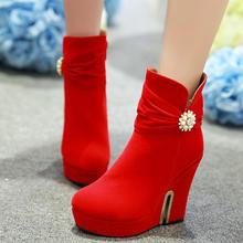 雪地靴女短靴秋冬季女鞋红色婚靴高跟鞋坡跟加厚新娘鞋结婚鞋婚靴