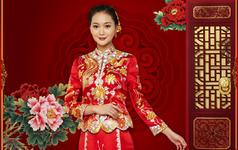 双喜临门手工刺绣龙凤褂 中式婚礼服 中式嫁衣