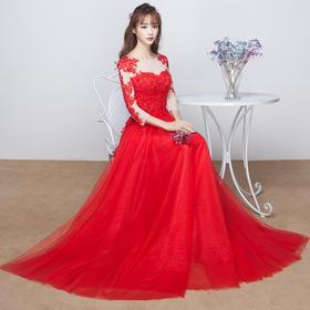 一字肩红色敬酒服新娘长袖 新款秋冬长款大码LF645