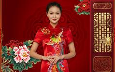 七彩祥凤 手工刺绣旗袍 中式嫁衣 中式结婚礼服
