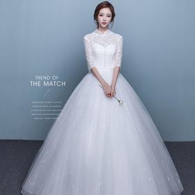 新款秋冬复古立领中袖婚纱公主冬季新娘结婚长袖