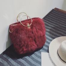 包包2016新款欧美冬季时尚兔毛包个性名媛圆环手提包单肩斜挎