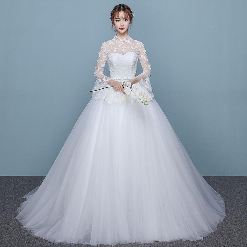 婚纱礼服秋冬季新款复古立领长袖婚纱公主新娘结婚大拖尾婚纱