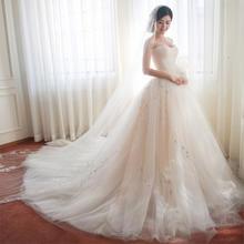婚纱礼服新娘2017春季新款 韩式花朵修身简约定制抹胸长拖尾