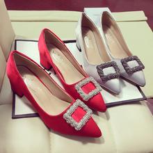 新款欧美时尚水钻方扣绸缎方跟单鞋女婚鞋潮