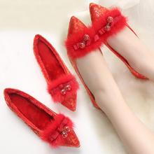 兔毛平底新娘结婚鞋加绒 尖头平跟婚礼鞋 红色旗袍单鞋女敬酒红