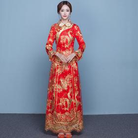 中式新娘服敬酒服大码秀禾服龙凤褂大五福结婚礼服LF616
