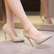 秋冬新款高跟鞋女细跟秋鞋金色尖头婚鞋水晶晚礼服红鞋新娘鞋