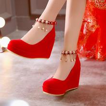 秋冬季新款婚鞋红色结婚鞋女单鞋坡跟新娘鞋孕妇厚底扣带红鞋婚礼