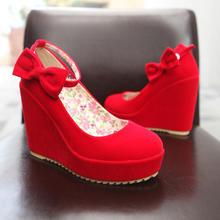 韩版春秋结婚坡跟单鞋女鞋蝴蝶结红色高跟新娘鞋婚鞋女绑带回门鞋