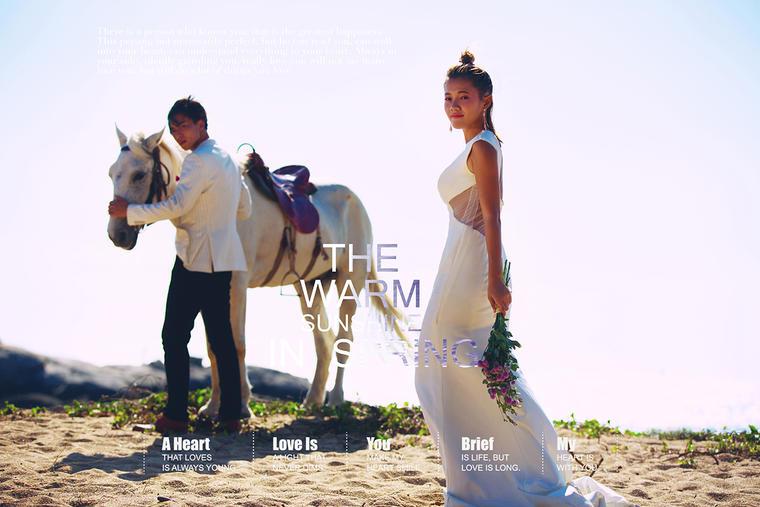 法式印象作品展示 游艇和马 时尚婚纱照