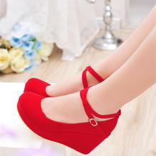 秋冬款婚鞋红色坡跟婚礼鞋中跟新娘鞋女士结婚红鞋厚底平底女单鞋