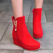 秋冬季婚靴女新娘红色婚鞋坡跟厚底高跟短靴孕妇鞋子粗跟结婚礼鞋