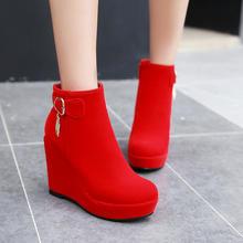 秋冬欧美风超高跟马丁靴女鞋磨砂坡跟短靴拉链皮带扣短筒女靴婚鞋