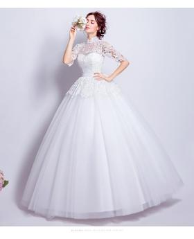 奢华蕾丝镂空露背公主新娘中式立领齐地婚纱礼服