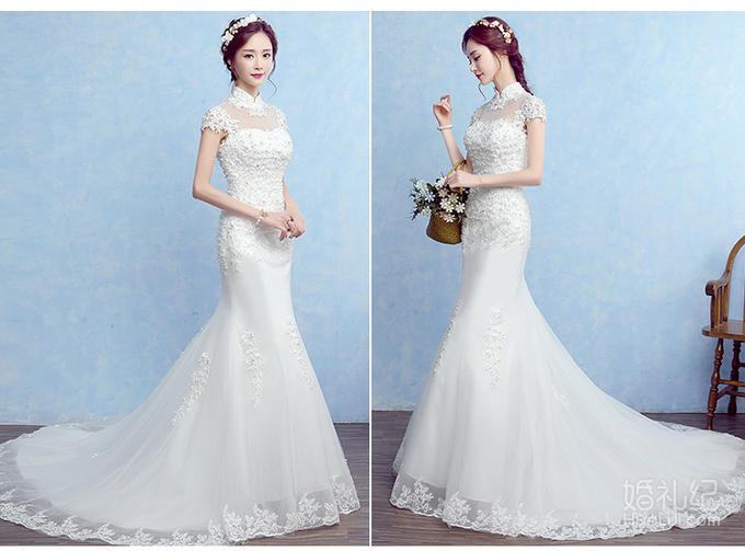品薇嫁衣新款韩式收腰复古旗袍立领包肩蕾丝鱼尾婚纱