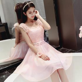 新款韩式伴娘团礼服粉色小礼服婚礼姐妹裙晚礼服冬