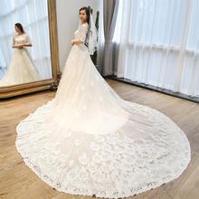 (下单送5件套)新款韩式新娘蕾丝一字肩长拖尾婚纱长袖大码齐地