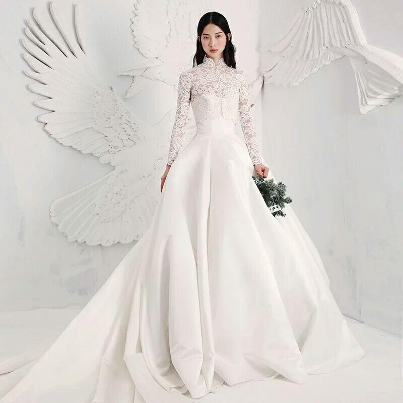 新款好先生甘敬同款复古立领长袖蕾丝修身欧式大拖尾缎面婚纱
